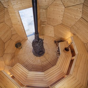 egg-shaped sauna inside